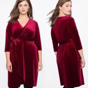 Eloquii Burgundy Velvet Wrap Dress Plus 16